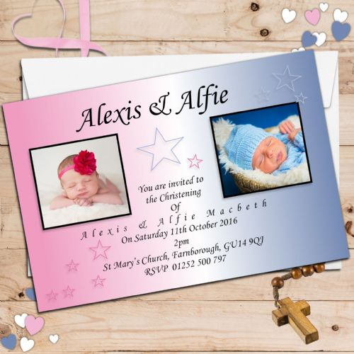 10 Personalised Twins / Joint Baptism Christening Photo Invitations N11